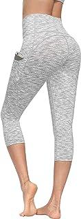Lingswallow High Waist Yoga Pants - Yoga Capris with Pockets 4 Ways Stretch, Tummy Control Capri Workout Leggings for Women