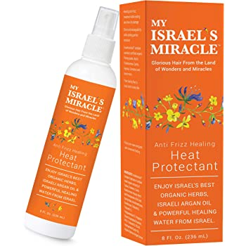 Anti Frizz Healing Heat Protectant Spray for Textured Hair - Argan Oil Hair Heat Protector Spray with Powerful Organic Hair Care Herbs from Israel