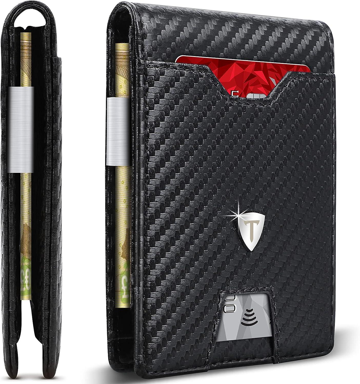 TEEHON Leather SlimWallet for Popular Max 56% OFF brand Men Clip RFID Money B Blocking