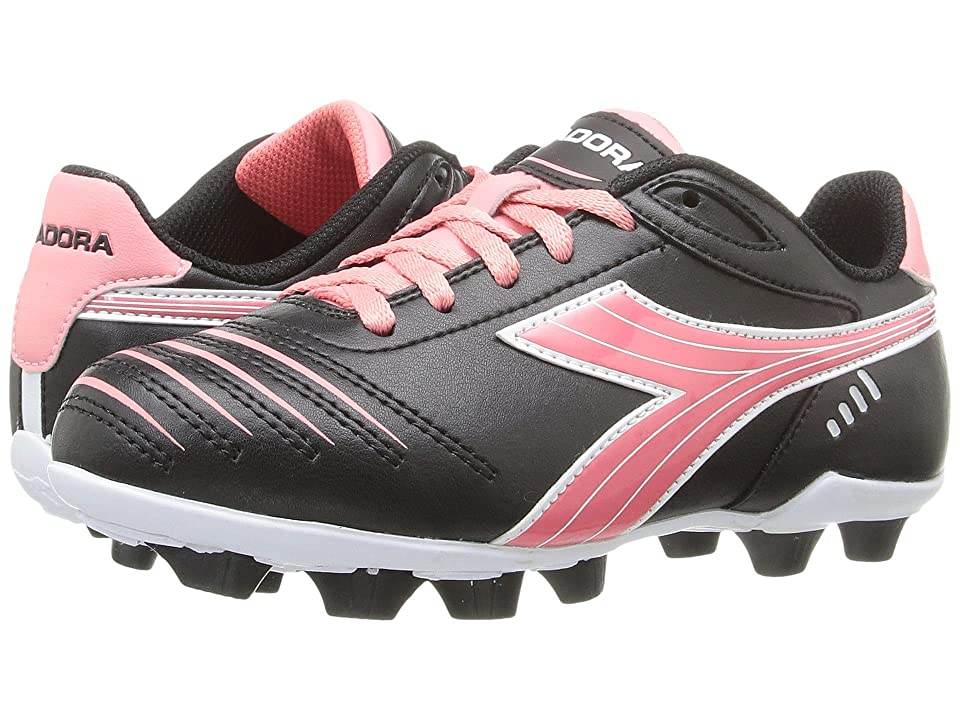 Diadora Kids Cattura MD JR Soccer (Toddler/Little Kid/Big Kid) (Black/Pink) Kids Shoes