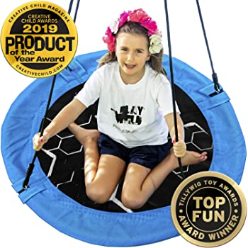 """Saucer Tree Swing - 40"""" Round Outdoor Swing Set - Attaches to Trees or Existing Swing Sets - Create Your Own Backyard Playground - Adjustable Hanging Ropes - for Kids, Adults and Teens - Blue"""