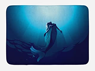 Ambesonne Underwater Bath Mat, Fantasy Mermaid in The Deep Water Swimming up to The Surface Sun Rays Artwork Print, Plush Bathroom Decor Mat with Non Slip Backing, 29.5