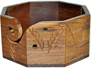 Premium Solid Hard Wood Crafted Wooden Portable Octagonal Yarn Bowl Holder for Knitting Crochet 6 x 6 x 3 inch Christmas Gift Set | Hind Handicrafts (6 x 6 x 3, Rosewood)