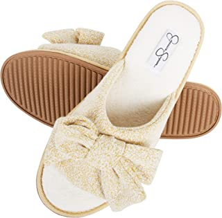Jessica Simpson Womens Plush Open Toe Slide On House Slipper with Bow