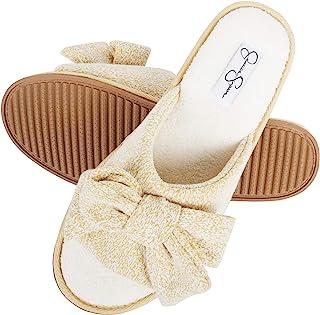Womens Plush Open Toe Slide On House Slipper with Bow