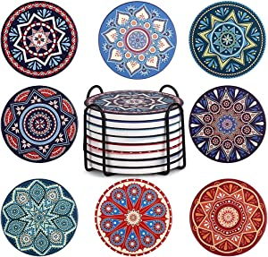 Coasters for Drinks Set of 8, NEWANOVI Absorbent Mandala Ceramic Coasters with Cork Base Back, with Metal Holder, Cool Gift Ideas for House Decor, Living Room or Coffee Bar Decor and Housewarming
