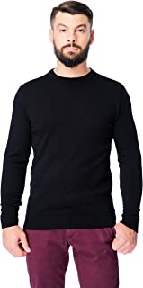 Men's Merino Wool Crewneck Sweater Classic Midweight Long Sleeve Pullover