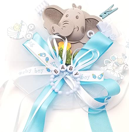 Baby Boy Shower Corsage,Corsage for Baby Boy Blue Shower Corsage Set-Elephant Mommy DaddyTo Be Corsage Mommy To Be Baby Shower Corsage