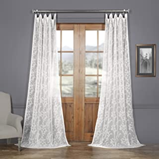 HPD Half Price Drapes SHCH-11745-96 Patterned Faux Linen Sheer Curtain (1 Panel), 50 X..