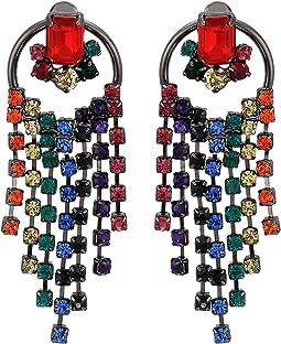 Rainbow Fringe Circle Post Earrings