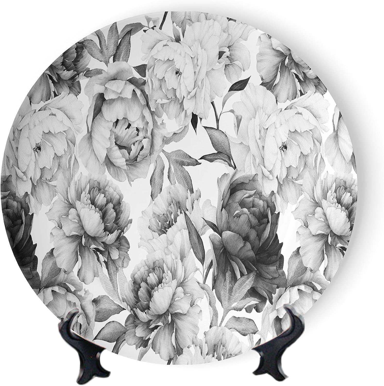 MOOMOO Floral Decorative Plates unisex Oriental Peony Super beauty product restock quality top Dis Plate Ceramic