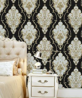 HaokHome 360207 Luxury Heavy Texture Victorian Damask Wallpaper Black/Gold/Brown/Silver for Home Accent Wall 20.8