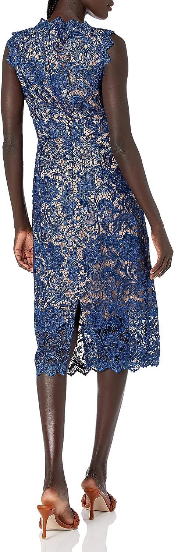 Dress the Population Women's Claudette Lace Sheath Midi Dress, Navy/Nude, M