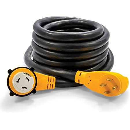 Camco 25' PowerGrip Cord with 50M/50F-90 Degree Locking Adapter | Allows for Easy RV Connection to Distant Power Outlets | Built to Last (55574)