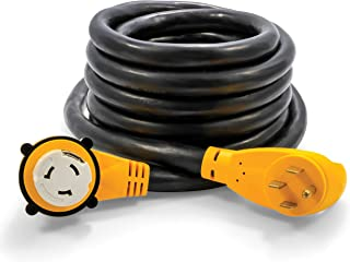 Camco 25' 25' PowerGrip Cord with 50M/50F-90 Degree Locking Adapter | Allows for Easy RV Connection to Distant Power Outlets | Built to Last (55574)
