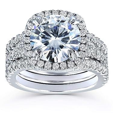 Kobelli Round Forever One Moissanite Halo Bridal Rings 4 1/3 CTW Platinum (3 Piece Set)