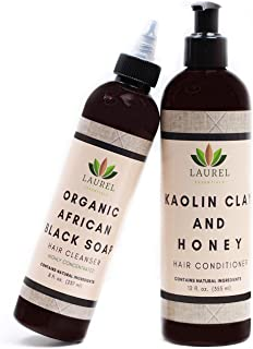 Laurel Essentials Organic African Black Soap Shampoo and Conditioner Set for Dry,Itchy Scalp - w/ Kaolin Clay & Honey - Anti Dandruff, Sulfate Free Formula for All Hair Types + Promotes Hair Growth - Clarifying and Moisturizing Treatment (8oz &12oz)