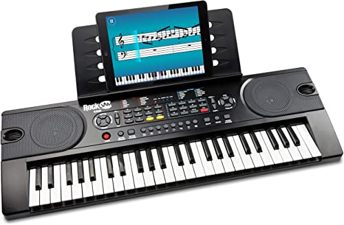 Clavier de piano 49 touches RockJam avec alimentation, support de partition, autocollants pour notes de piano et leço...