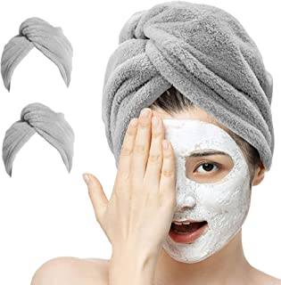 2 Pack Hair Drying Towel, AUMA Organic Bamboo Fiber Hair Wrap Turbans, Ultra Absorbent & Fast Drying Microfiber Towel for ...