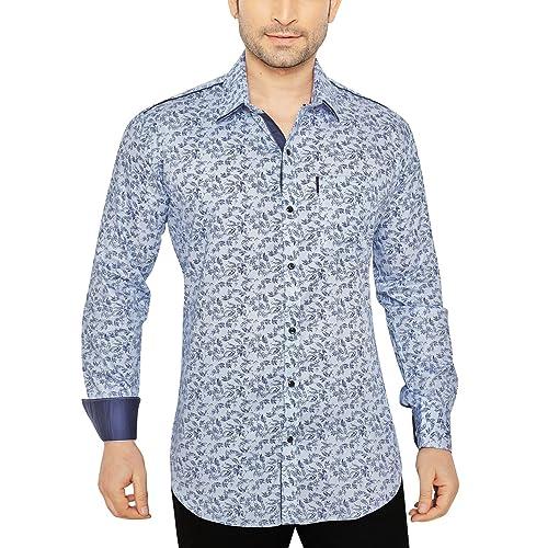 Global Rang Men's Floral Blue Printed Casual Shirt