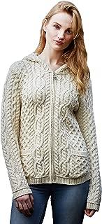 Aran Crafts Shirt Tail Hood Cardigan (100% Merino Wool)