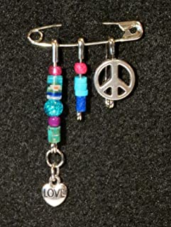 Solidarity Safety Pin 07: Handmade Art Safety Pin Solidarity Jewelry Gem Stone Glass Bead Crystal