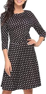 BEAUTYTALK Women's Polka Dot 3/4 Sleeves Wear to Work A-line Dress