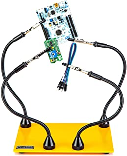 Third Hand Soldering Tool PCB Holder Four Magnetic Based Flexible Metal Arms Helping Hands Crafts Jewelry Hobby Workshop Helping Station Non-Slip Steel Weighted Base