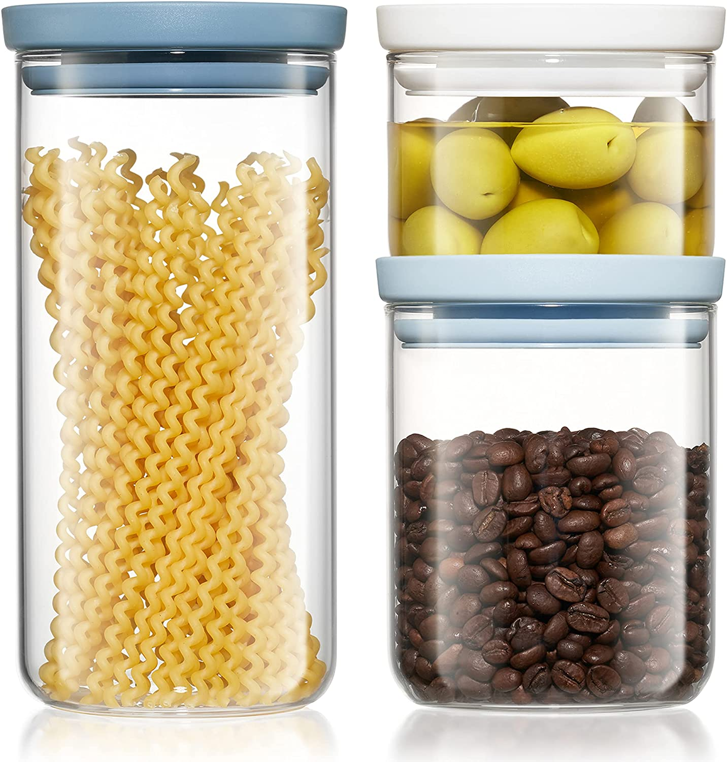 Tucson Mall Freyian Glass Canisters Max 59% OFF sets for the kitchen Set stackabl - of 3