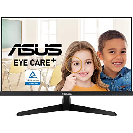 "ASUS VY249HE 23.8"" Eye Care Monitor, 1080P Full HD, 75Hz, IPS, Adaptive-Sync/FreeSync, Eye Care Plus, Color Augmentation, Rest Reminder, HDMI VGA, Frameless, VESA Wall Mountable"