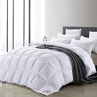 MoSurprise Bettdecke 4 Jahreszeiten Steppdecke Extra Warm Daunendecke 220 x 225 cm 100% Natürlich Gänsedaunen Füllung Antiallergisch für Allergiker 220 x 225 cm Weiß