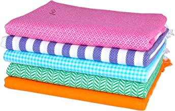Sathiyas Supreme Multicolor Pure Soft Cotton Bath Towels - Pack Of 5 (Multi 1)