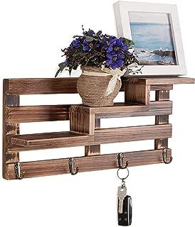 MyGift Rustic Wall-Mounted Entryway Burnt Wood Display Shelf with 4 Key Hooks