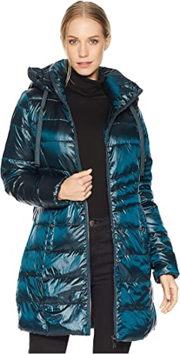 Ruched Stand Collar 3/4 Soft Down Jacket