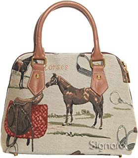 Horse Pattern Top-Handle Handbag Purse for Women/Carry-On Bag for Women with Removable Strap Conv-HOR Beige