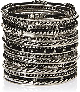 Amrita Singh 'Athena Bangle' Thin Etched Metal Bracelet Set of 29, Sivertone/Black