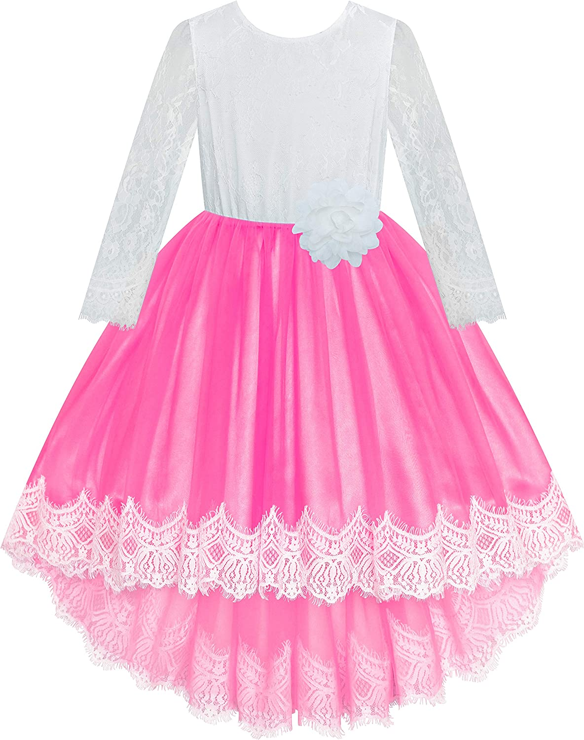 Sunny Fashion Flower Girl Dress Lace Hi-Low Skirt Blue Wedding Pageant Size 6-12