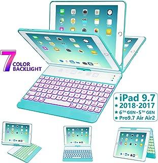iPad Keyboard Case 9.7 for iPad 2018 (6th Gen) - 2017 (5th Gen) - iPad Pro 9.7 - iPad Air 2 & 1, 7 Color Backlit Keyboard Case/360 Rotate Wireless/BT Keyboard Case with Auto Sleep/Wake (Tiffany Blue)