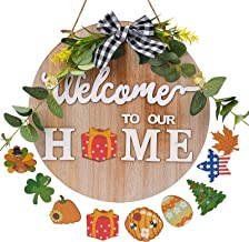 """MerryNine 30cm/11.8"""" Round Welcome Door Sign, Interchangeable Seasonal Icon Wooden Wall Decoration, Various Holiday Decora..."""