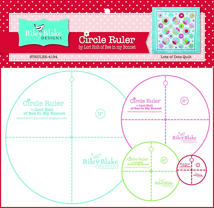 Christensen Wholesale Combine into 0491531 Lori Holt Circle Ruler Kit 9in 6in 4