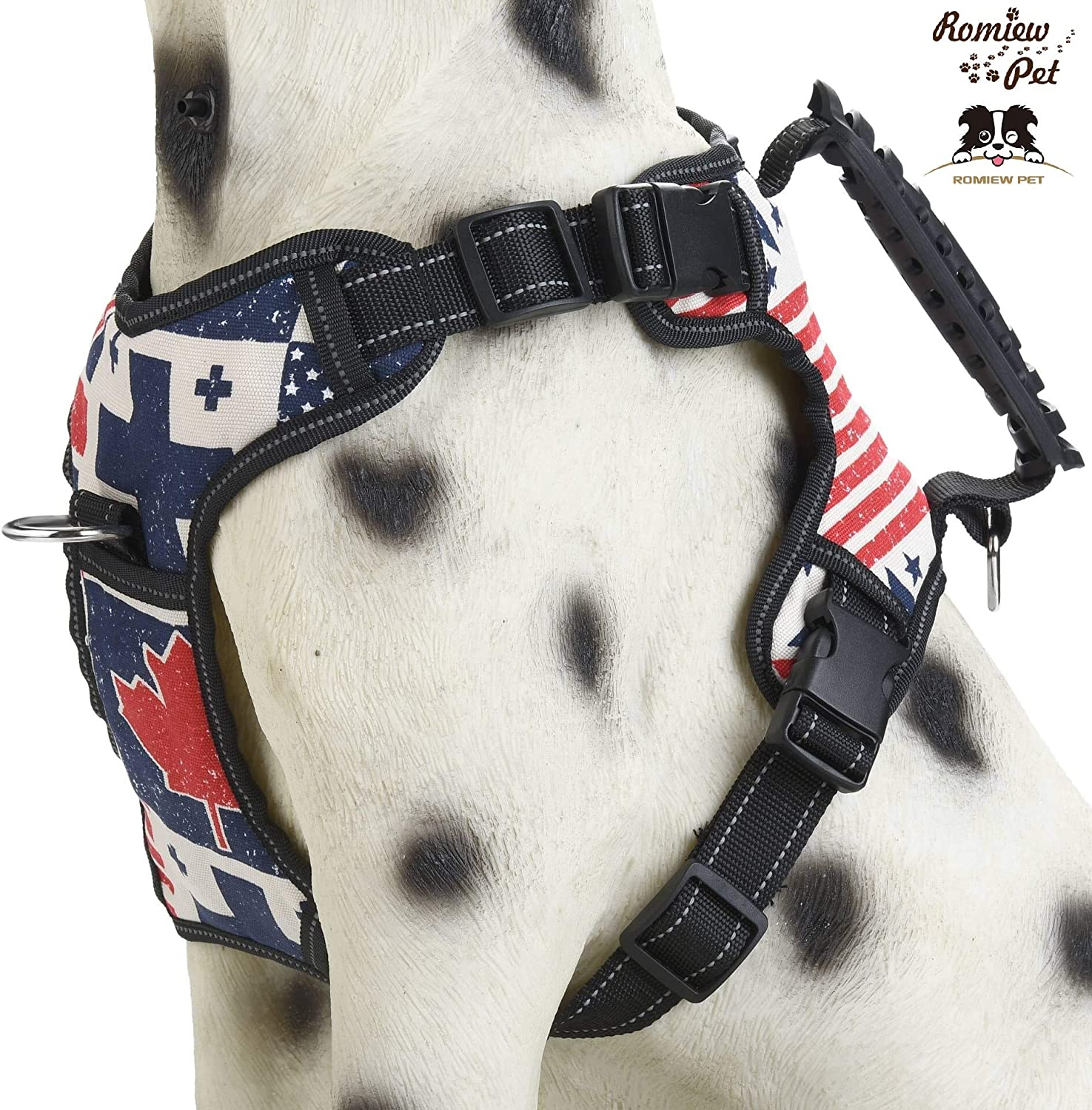 Romiew No Pull Dog Harness Adjustable Outdoor Pet Vest for Easy Walking (Large, bluee & White)