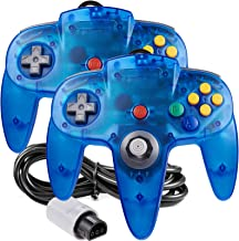 [New Joystick] 2 Pack Classic 64 Controller, iNNEXT Game pad Joystick for 64 - Plug & Play (Non PC USB Version) (Clear Blue)