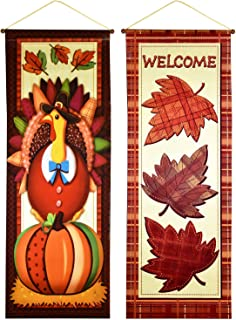Thanksgiving Hanging Wall Banner Decorations Autumn Harvest Fall Flag 2 Pack for Home Indoor Outdoor Garden & Yard Party Favor Supplies Accessories by Gift Boutique