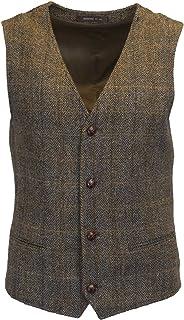 Walker and Hawkes Walker & Hawkes - Mens Classic Scottish Harris Tweed Herringbone Overcheck Country Waistcoat , 44, Clint...