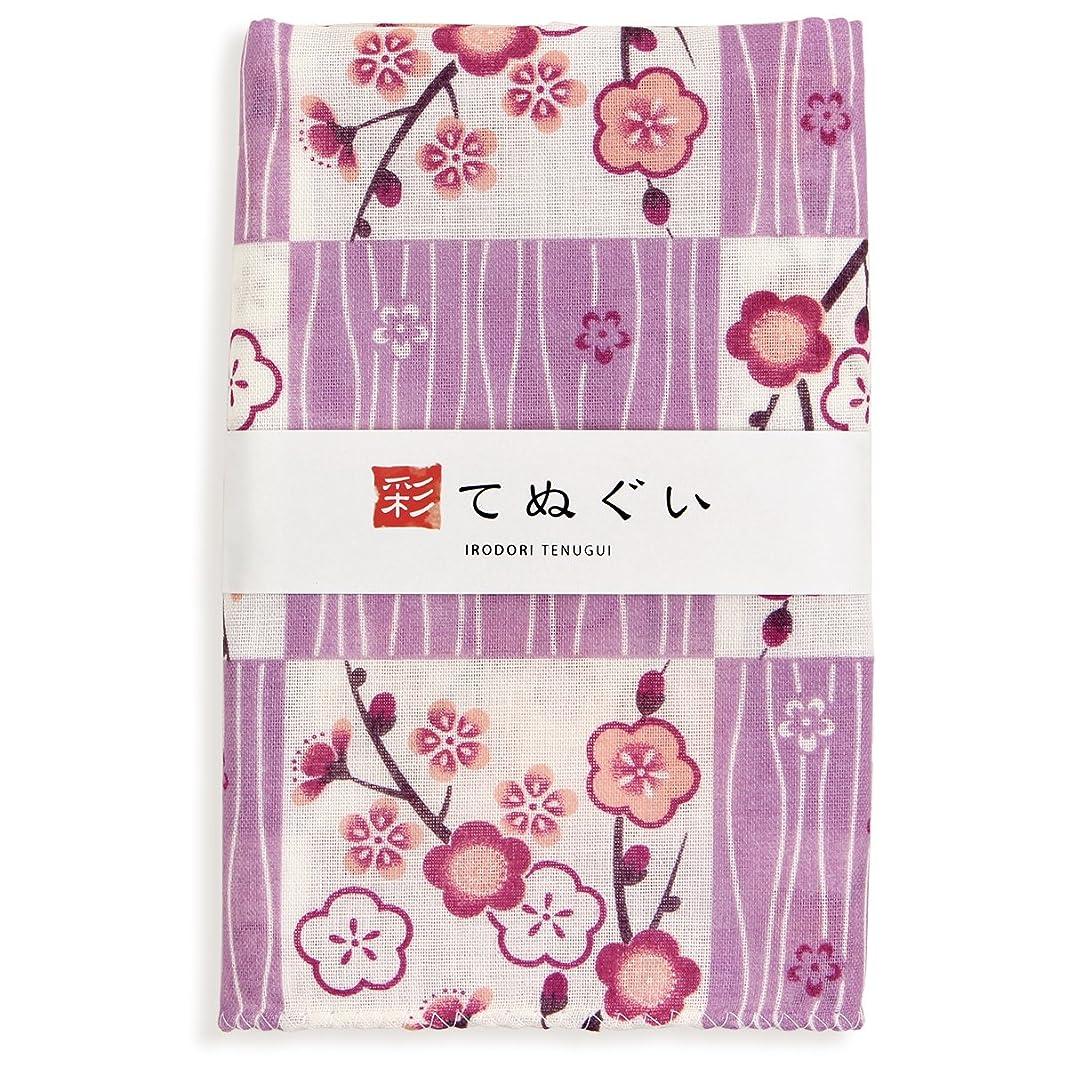 イチゴオンスコークス彩(irodori) ガーゼ手ぬぐい よろけ縞に梅 パープル 紫 日本製 てぬぐい 二重袷 二重ガーゼ ほつれ防止加工 約33×88cm