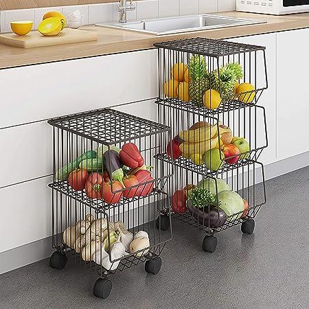 CarolynDesign Corbeille à fruits à 3 étages sur roulettes, bacs de rangement empilables avec roulettes et couvercle, pour cuisine, salon, chambre, salle de bain, etc.
