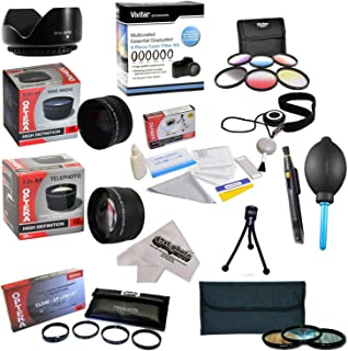 25 Piece Advanced Lens Package For The Sony Alpha A100, A200, A230, A290, A330, A350, A380, A390, A500, A33, A35, A37, A55, A65, A77, A99, A580, A550, A700, A850, A900, A5000, NEX-7 & NEX-3N Digital Cameras Includes 0.43X HD2 Wide Angle Panoramic Macro Fisheye Lens + 2.2x HD AF Telephoto Lens + 3 Piece Pro Filter Kit (UV, CPL, FLD) + 6 Piece Multi-Colored Graduated Filter Set + 5 PC Close-Up Set (+1, +2,+4 with 10X Macro Lens) + Flower Lens Hood + Deluxe Lens Cleaning Kit + 5PC Lens Cleaning Pen