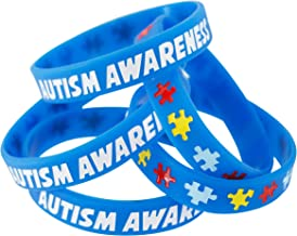 Forge Autism Awareness Wristbands - Colorful Puzzle Pieces Silicone Bracelets (5 Wristbands)