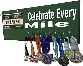 Running On The Wall - Race Bib Medal Display Rack- Wall Mounted Sports Medal Holder Hanger 5K, 10K Marathons Runners - Celebrate Every Mile
