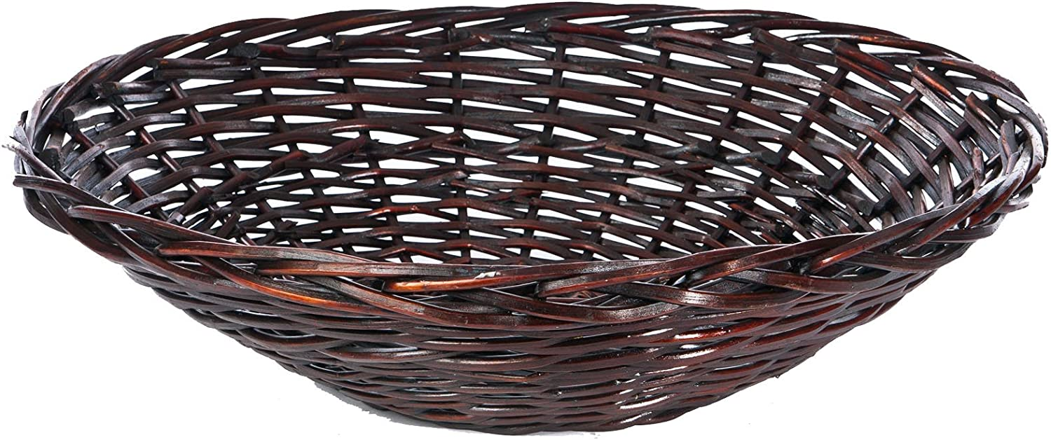Skalny Round Stain Wax Square Cut Willow Bowl, 27 x 7
